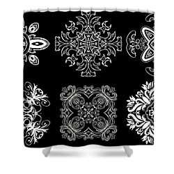 Coffee Flowers Ornate Medallions Bw 6 Peice Collage Shower Curtain by Angelina Vick