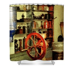 Coffee Grinder And Canister Of Sugar Shower Curtain by Susan Savad