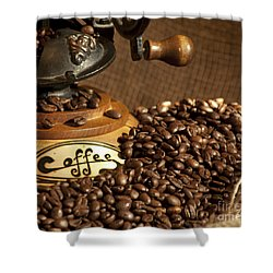 Coffee Grinder With Beans Shower Curtain by Gunter Nezhoda