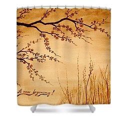 Coffee Painting Cherry Blossoms Shower Curtain by Georgeta  Blanaru