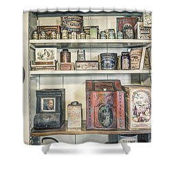 Coffee Tobacco And Spice - On The Shelves At A 19th Century General Store Shower Curtain by Gary Heller