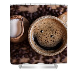 Coffee With A Smile Shower Curtain by Aaron Aldrich