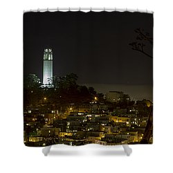 Coit Tower By Night Shower Curtain