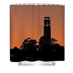 Shower Curtain featuring the photograph Coit Tower Sunset by Kate Brown