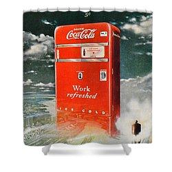 Coke - Coca Cola Vintage Advert Shower Curtain by Georgia Fowler