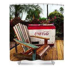Shower Curtain featuring the photograph Vintage Coke Machine With Adirondack Chair by Jerry Cowart