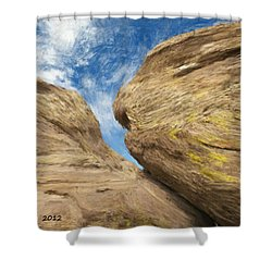 Shower Curtain featuring the painting Colby's Cliff by Bruce Nutting