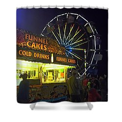 Cold Drink And Funnel Cakes Shower Curtain by Joyce  Wasser