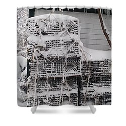 Shower Curtain featuring the photograph Cold Lobster Trap by Robert Nickologianis