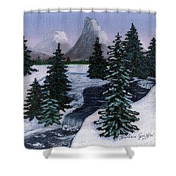 Cold Mountain Brook Shower Curtain by Barbara Griffin