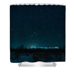 Cold Night On The Saddle Horn Shower Curtain