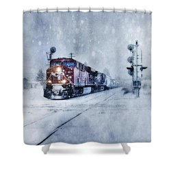 Cold Nights On The Midnight Train Color Shower Curtain by Theresa Tahara
