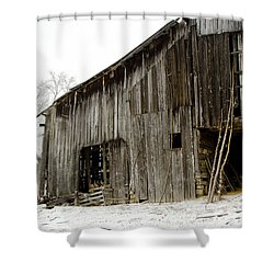 Shower Curtain featuring the photograph Cold Winter At The Barn  by Wilma  Birdwell