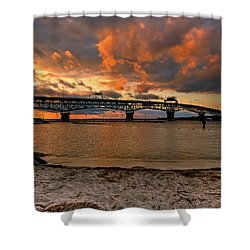 Coleman Bridge At Sunset Shower Curtain
