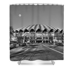 Coliseum Black And White With Moon Shower Curtain by Dan Friend