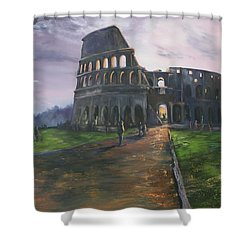 Shower Curtain featuring the painting Coliseum Rome by Jean Walker