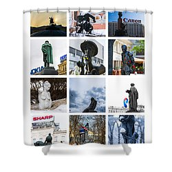 Collage - Moscow Monuments - Featured 3 Shower Curtain by Alexander Senin