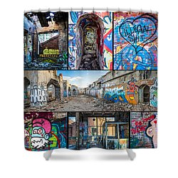 Shower Curtain featuring the photograph Collage Of Graffiti by Steven Santamour