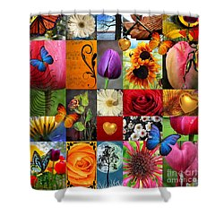 Collage Of Happiness  Shower Curtain by Mark Ashkenazi