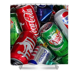 Shower Curtain featuring the photograph Collection Of Cans 04 by Andy Lawless