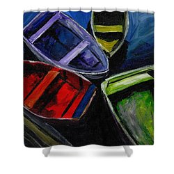 Colliding Skiffs Shower Curtain
