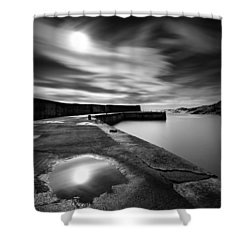 Collieston Breakwater Shower Curtain by Dave Bowman