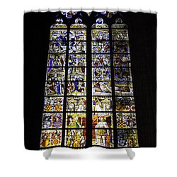 Cologne Cathedral Stained Glass Window Of St Peter And Tree Of Jesse Shower Curtain