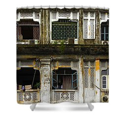 Colonial Facade Bo Soon Pat Street 8th Ward Central Yangon Burma Shower Curtain