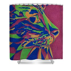 Shower Curtain featuring the painting Color Cat I by Pamela Clements