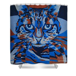 Shower Curtain featuring the painting Color Cat IIi by Pamela Clements