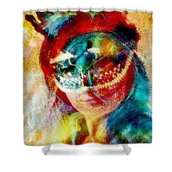 Color Mask Shower Curtain by Linda Sannuti
