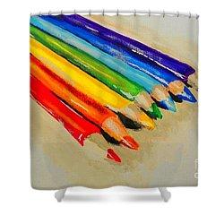 Color Pencils Shower Curtain by Marisela Mungia