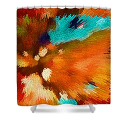 Color Shock 1 - Vibrant Digital Painting Shower Curtain by Sharon Cummings