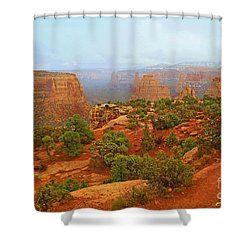 Colorado Natl Monument Snow Coming Down The Canyon Shower Curtain