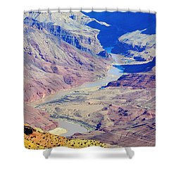 Colorado River Winding Through The Grand Canyon Shower Curtain by Shawn O'Brien