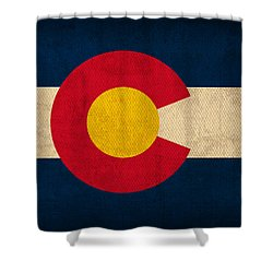Colorado State Flag Art On Worn Canvas Shower Curtain