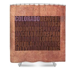 Colorado Word Art State Map On Canvas Shower Curtain by Design Turnpike
