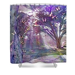 Colored Forest Shower Curtain by Alixandra Mullins