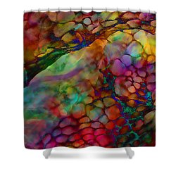 Colored Tafoni Shower Curtain by Klara Acel