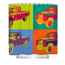 Colorful 1971 Land Rover Pick Up Truck Pop Art Shower Curtain by Keith Webber Jr