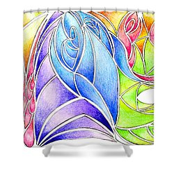 Colorful Abstract Drawing Shower Curtain by Minding My  Visions by Adri and Ray
