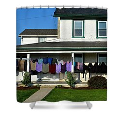 Colorful Amish Laundry On Porch Shower Curtain