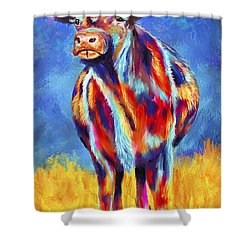 Colorful Angus Cow Shower Curtain by Michelle Wrighton