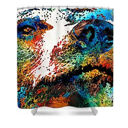Colorful Bear Art - Bear Stare - By Sharon Cummings Shower Curtain
