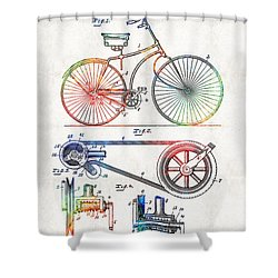 Colorful Bike Art - Vintage Patent - By Sharon Cummings Shower Curtain by Sharon Cummings