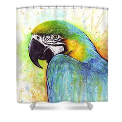 Macaw Watercolor Shower Curtain by Olga Shvartsur