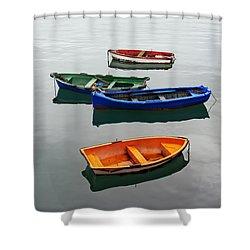 colorful boats on Santurtzi Shower Curtain