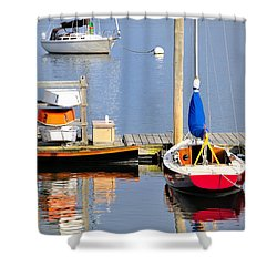 Colorful Boats Rockland Maine Shower Curtain