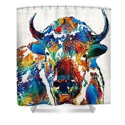 Colorful Buffalo Art - Sacred - By Sharon Cummings Shower Curtain