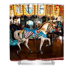 Shower Curtain featuring the photograph Colorful Carousel Horse by Jerry Cowart